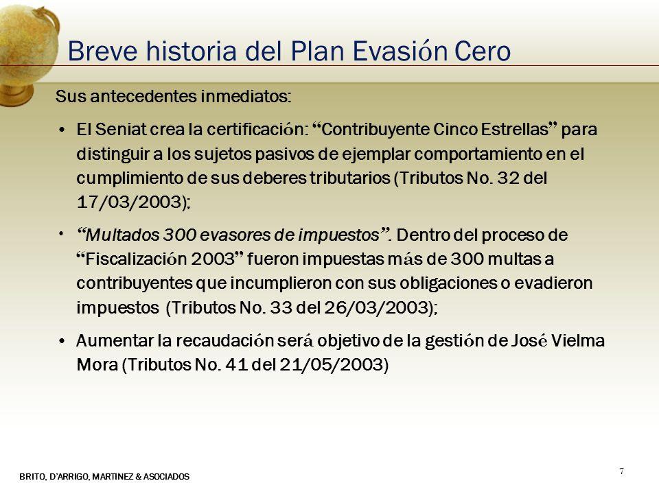 BRITO, DARRIGO, MARTINEZ & ASOCIADOS 7 Breve historia del Plan Evasi ó n Cero Sus antecedentes inmediatos: El Seniat crea la certificaci ó n: Contribu
