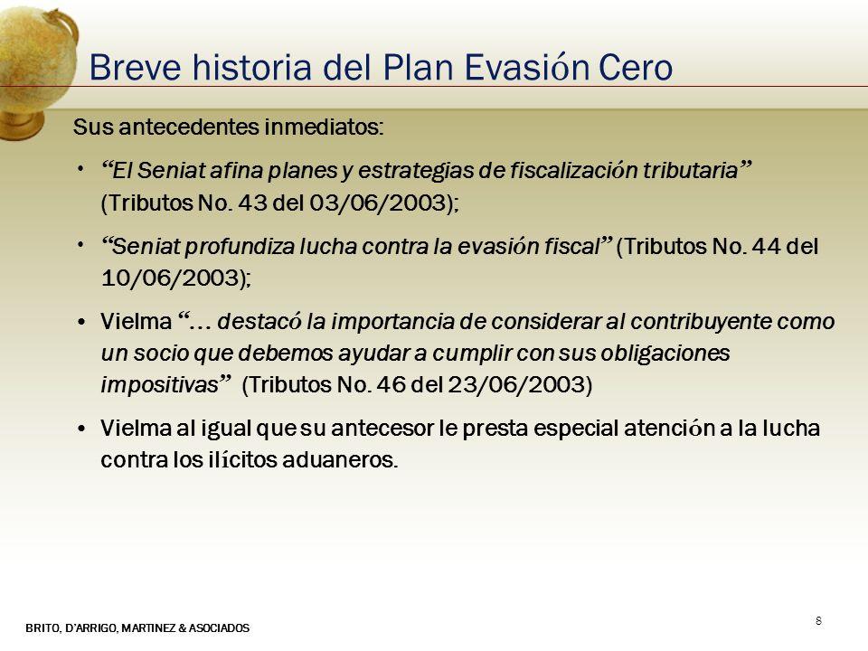 BRITO, DARRIGO, MARTINEZ & ASOCIADOS 8 Breve historia del Plan Evasi ó n Cero Sus antecedentes inmediatos: El Seniat afina planes y estrategias de fis