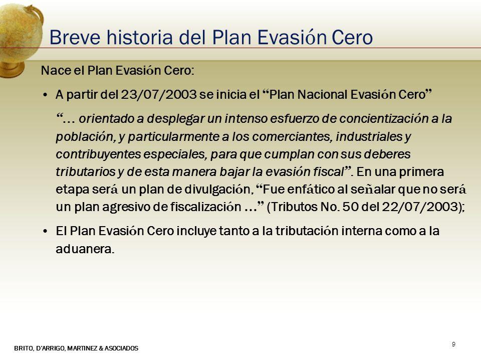 BRITO, DARRIGO, MARTINEZ & ASOCIADOS 9 Breve historia del Plan Evasi ó n Cero Nace el Plan Evasi ó n Cero: A partir del 23/07/2003 se inicia el Plan N