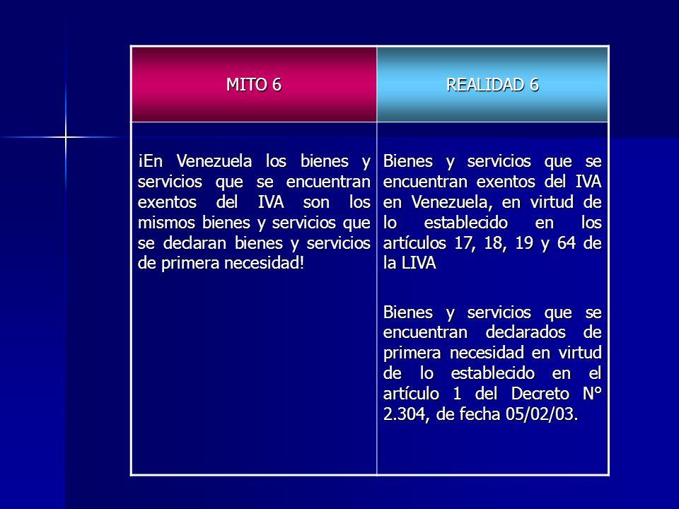 MITO 6 REALIDAD 6 ¡En Venezuela los bienes y servicios que se encuentran exentos del IVA son los mismos bienes y servicios que se declaran bienes y se