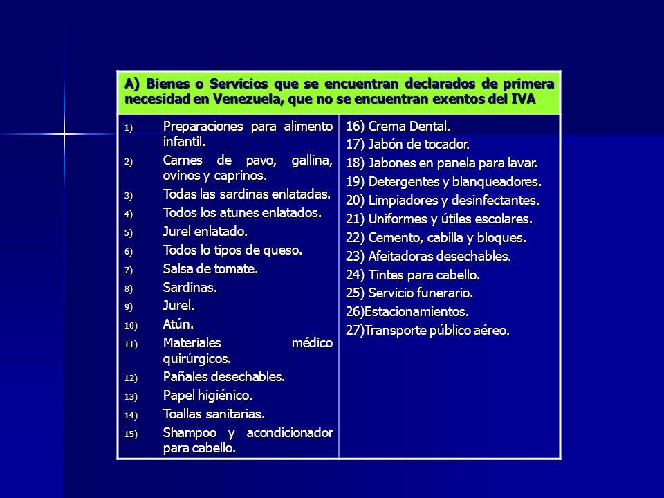 A) Bienes o Servicios que se encuentran declarados de primera necesidad en Venezuela, que no se encuentran exentos del IVA 1) Preparaciones para alime