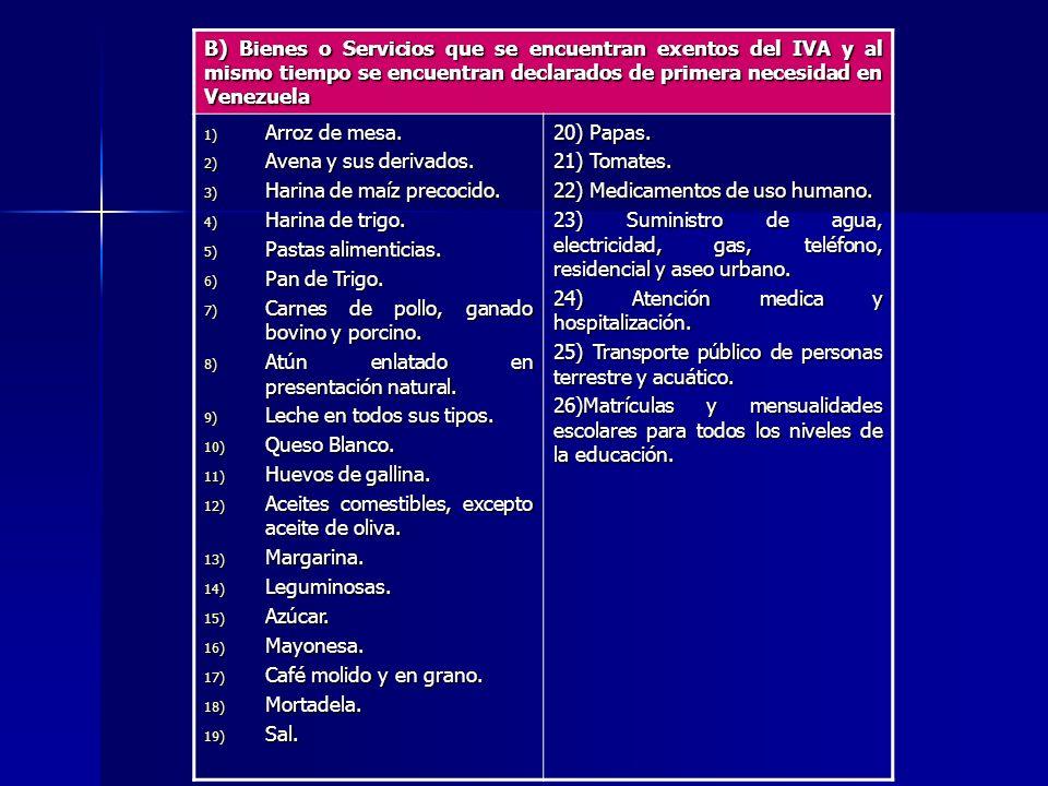 B) Bienes o Servicios que se encuentran exentos del IVA y al mismo tiempo se encuentran declarados de primera necesidad en Venezuela 1) Arroz de mesa.