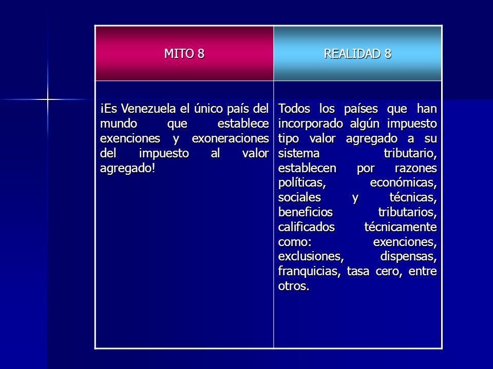 MITO 8 REALIDAD 8 ¡Es Venezuela el único país del mundo que establece exenciones y exoneraciones del impuesto al valor agregado! Todos los países que