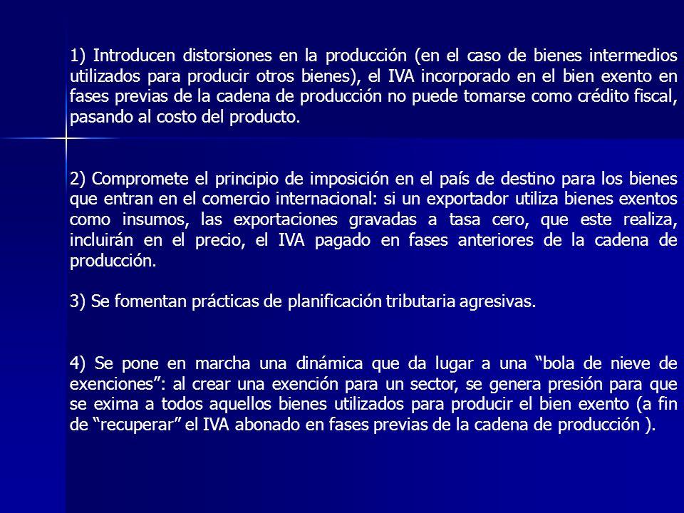 1) Introducen distorsiones en la producción (en el caso de bienes intermedios utilizados para producir otros bienes), el IVA incorporado en el bien ex