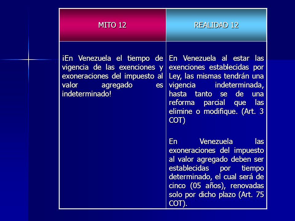MITO 12 REALIDAD 12 ¡En Venezuela el tiempo de vigencia de las exenciones y exoneraciones del impuesto al valor agregado es indeterminado! En Venezuel