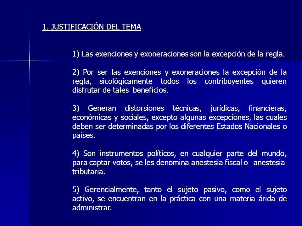 1. JUSTIFICACIÓN DEL TEMA 1) Las exenciones y exoneraciones son la excepción de la regla. 2) Por ser las exenciones y exoneraciones la excepción de la