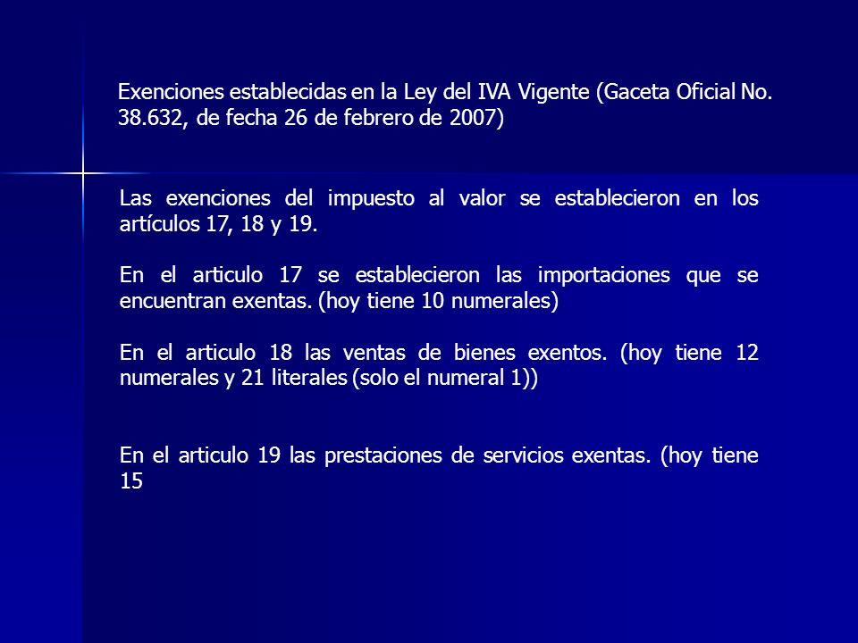 Exenciones establecidas en la Ley del IVA Vigente (Gaceta Oficial No. 38.632, de fecha 26 de febrero de 2007) Las exenciones del impuesto al valor se