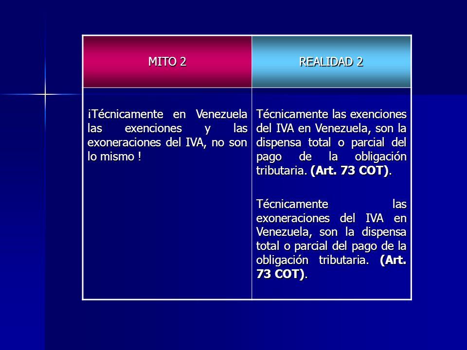 MITO 2 REALIDAD 2 ¡Técnicamente en Venezuela las exenciones y las exoneraciones del IVA, no son lo mismo ! Técnicamente las exenciones del IVA en Vene