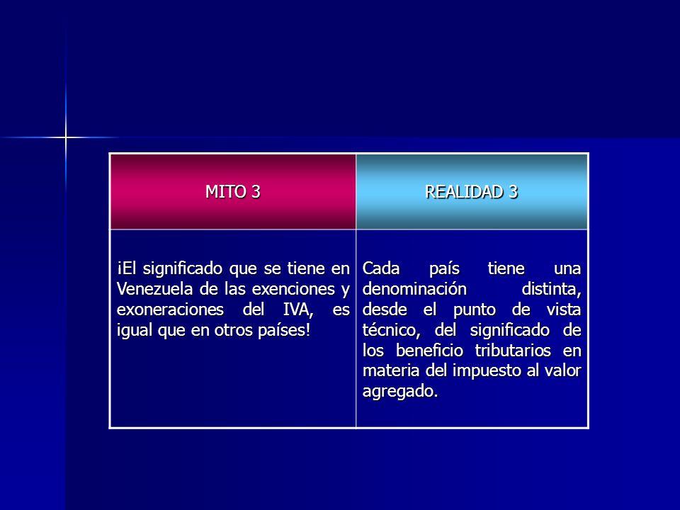 MITO 3 REALIDAD 3 ¡El significado que se tiene en Venezuela de las exenciones y exoneraciones del IVA, es igual que en otros países! Cada país tiene u