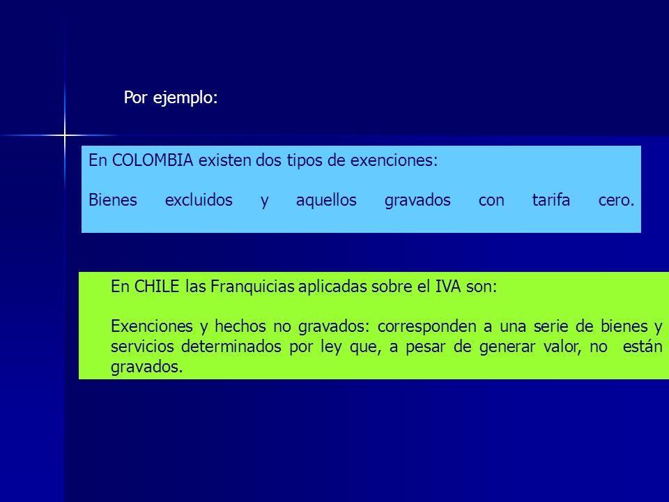 En COLOMBIA existen dos tipos de exenciones: Bienes excluidos y aquellos gravados con tarifa cero. En CHILE las Franquicias aplicadas sobre el IVA son