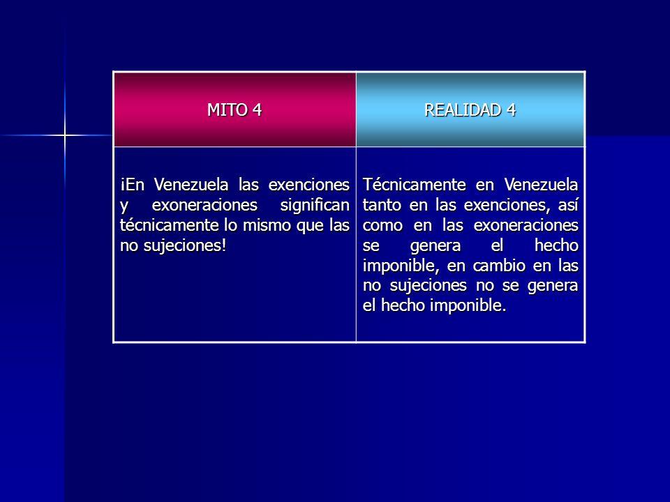MITO 4 REALIDAD 4 ¡En Venezuela las exenciones y exoneraciones significan técnicamente lo mismo que las no sujeciones! Técnicamente en Venezuela tanto