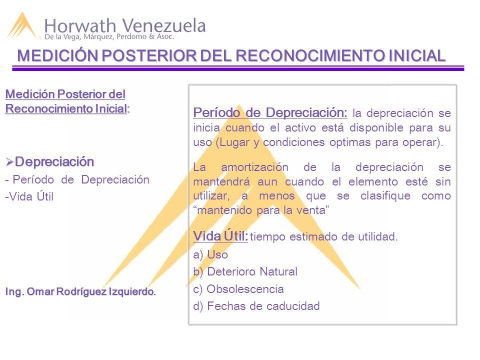Período de Depreciación: la depreciación se inicia cuando el activo está disponible para su uso (Lugar y condiciones optimas para operar). La amortiza