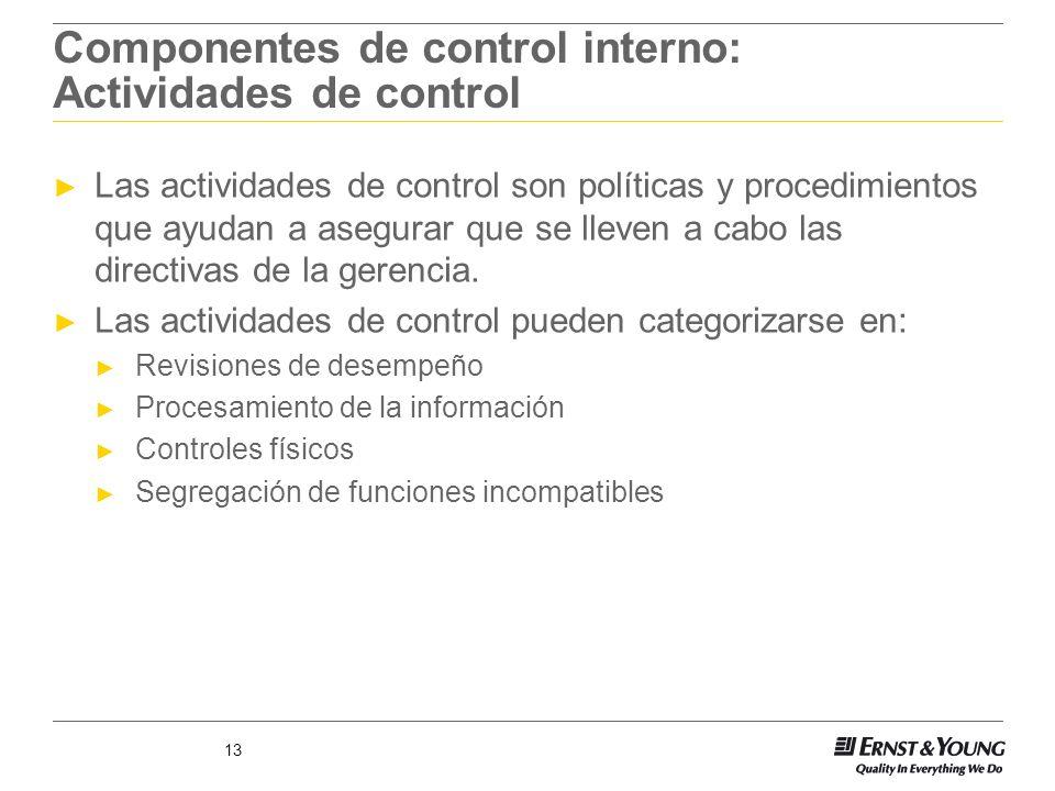 13 Componentes de control interno: Actividades de control Las actividades de control son políticas y procedimientos que ayudan a asegurar que se lleve