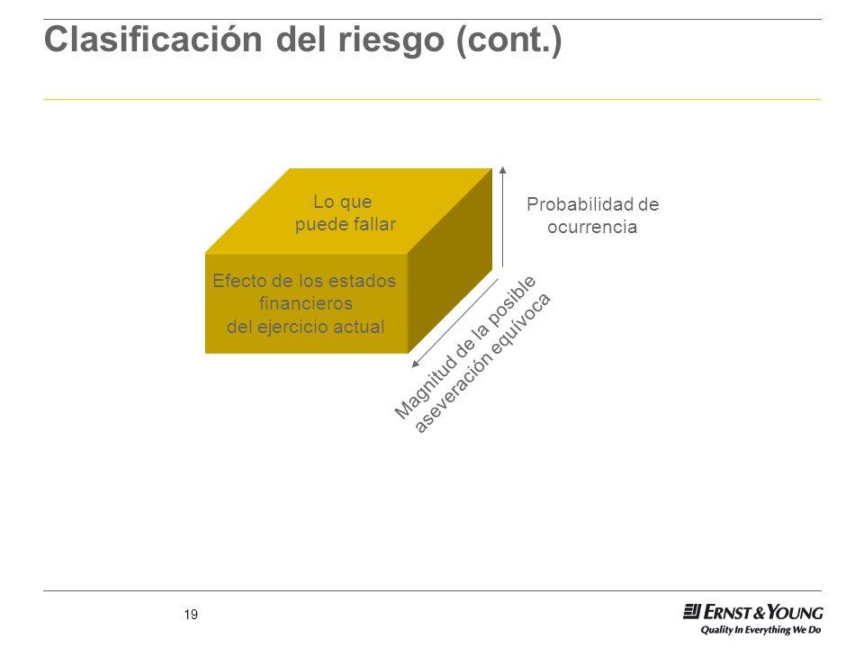 19 Clasificación del riesgo (cont.) Magnitud de la posible aseveración equívoca Probabilidad de ocurrencia Efecto de los estados financieros del ejerc