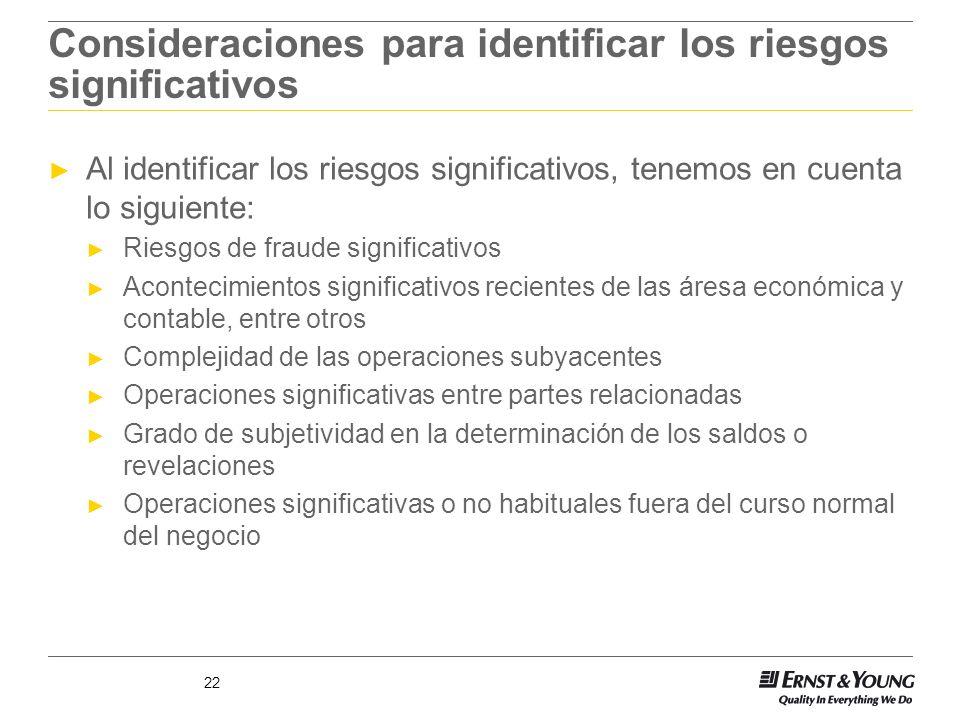 22 Consideraciones para identificar los riesgos significativos Al identificar los riesgos significativos, tenemos en cuenta lo siguiente: Riesgos de f