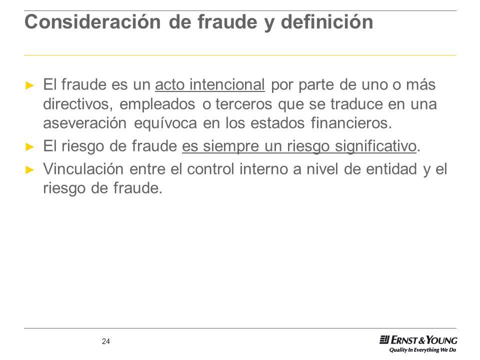 24 Consideración de fraude y definición El fraude es un acto intencional por parte de uno o más directivos, empleados o terceros que se traduce en una