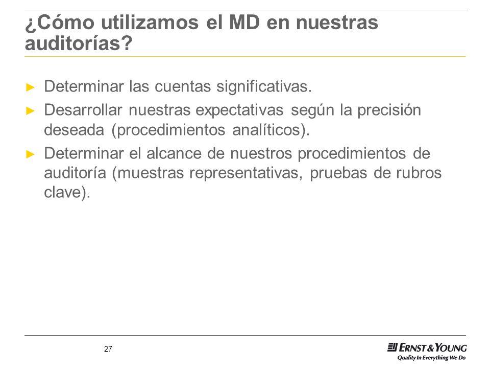 27 ¿Cómo utilizamos el MD en nuestras auditorías? Determinar las cuentas significativas. Desarrollar nuestras expectativas según la precisión deseada