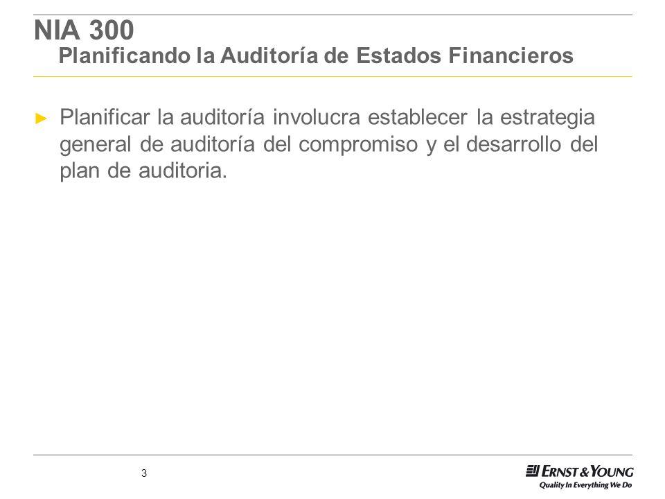 3 NIA 300 Planificando la Auditoría de Estados Financieros Planificar la auditoría involucra establecer la estrategia general de auditoría del comprom