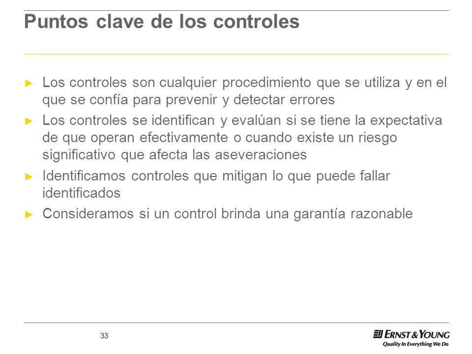 33 Puntos clave de los controles Los controles son cualquier procedimiento que se utiliza y en el que se confía para prevenir y detectar errores Los c