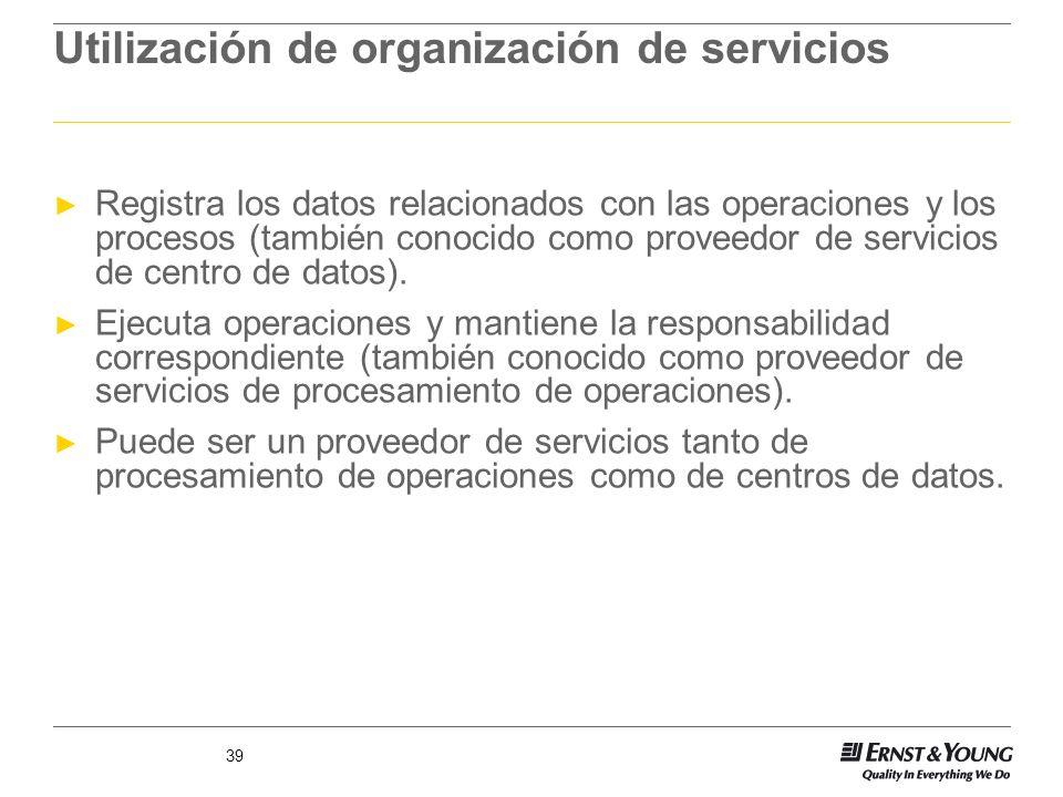 39 Utilización de organización de servicios Registra los datos relacionados con las operaciones y los procesos (también conocido como proveedor de ser