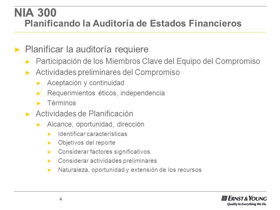 4 NIA 300 Planificando la Auditoría de Estados Financieros Planificar la auditoría requiere Participación de los Miembros Clave del Equipo del Comprom