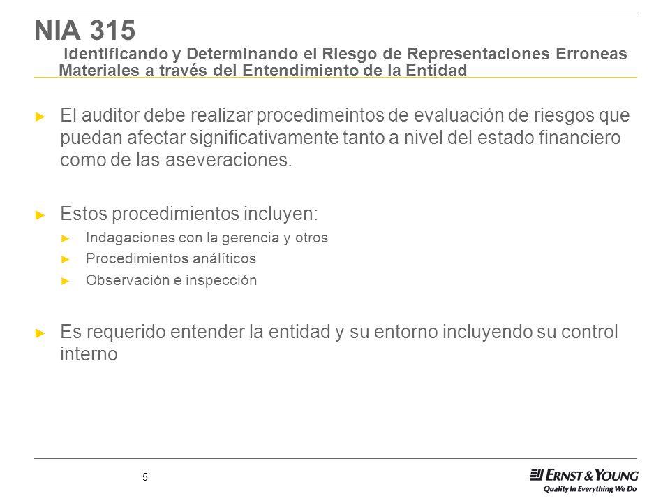 5 NIA 315 Identificando y Determinando el Riesgo de Representaciones Erroneas Materiales a través del Entendimiento de la Entidad El auditor debe real