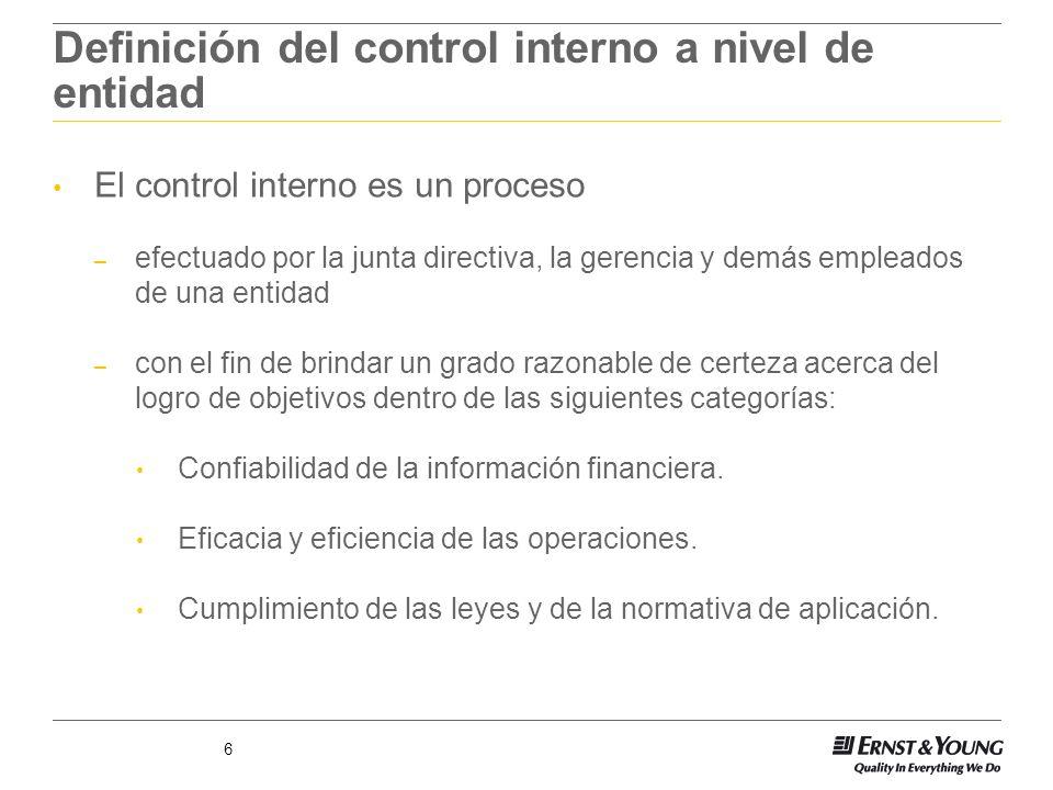 6 Definición del control interno a nivel de entidad El control interno es un proceso – efectuado por la junta directiva, la gerencia y demás empleados
