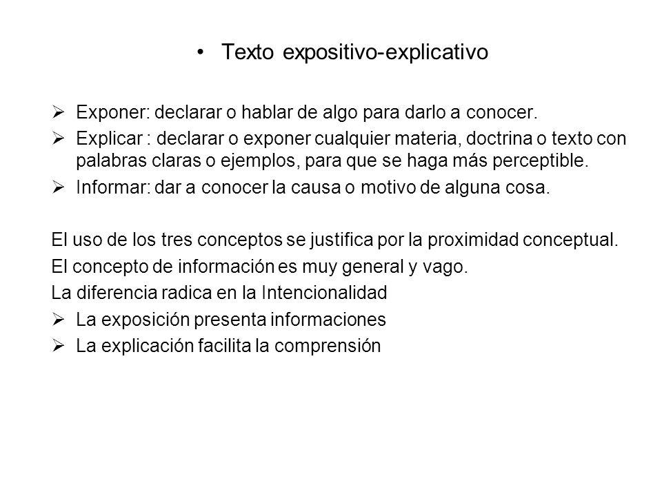 Texto expositivo-explicativo Exponer: declarar o hablar de algo para darlo a conocer. Explicar : declarar o exponer cualquier materia, doctrina o text