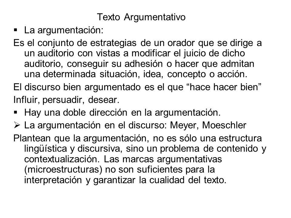 Texto Argumentativo La argumentación: Es el conjunto de estrategias de un orador que se dirige a un auditorio con vistas a modificar el juicio de dich