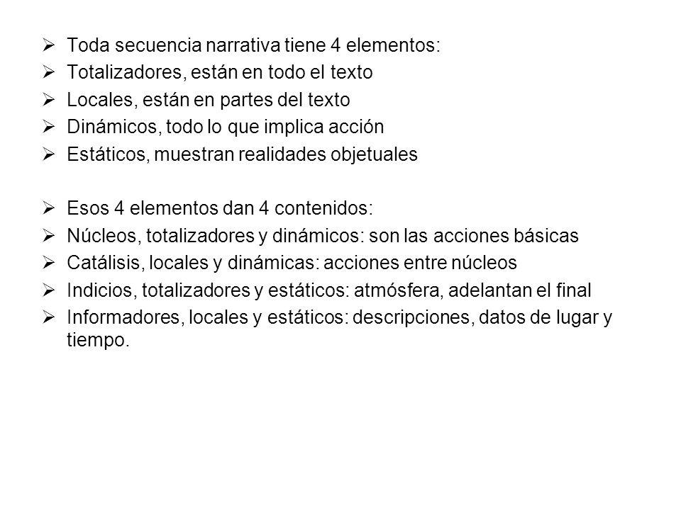 Toda secuencia narrativa tiene 4 elementos: Totalizadores, están en todo el texto Locales, están en partes del texto Dinámicos, todo lo que implica ac
