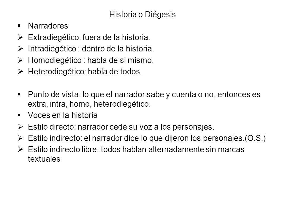 Historia o Diégesis Narradores Extradiegético: fuera de la historia. Intradiegético : dentro de la historia. Homodiegético : habla de si mismo. Hetero