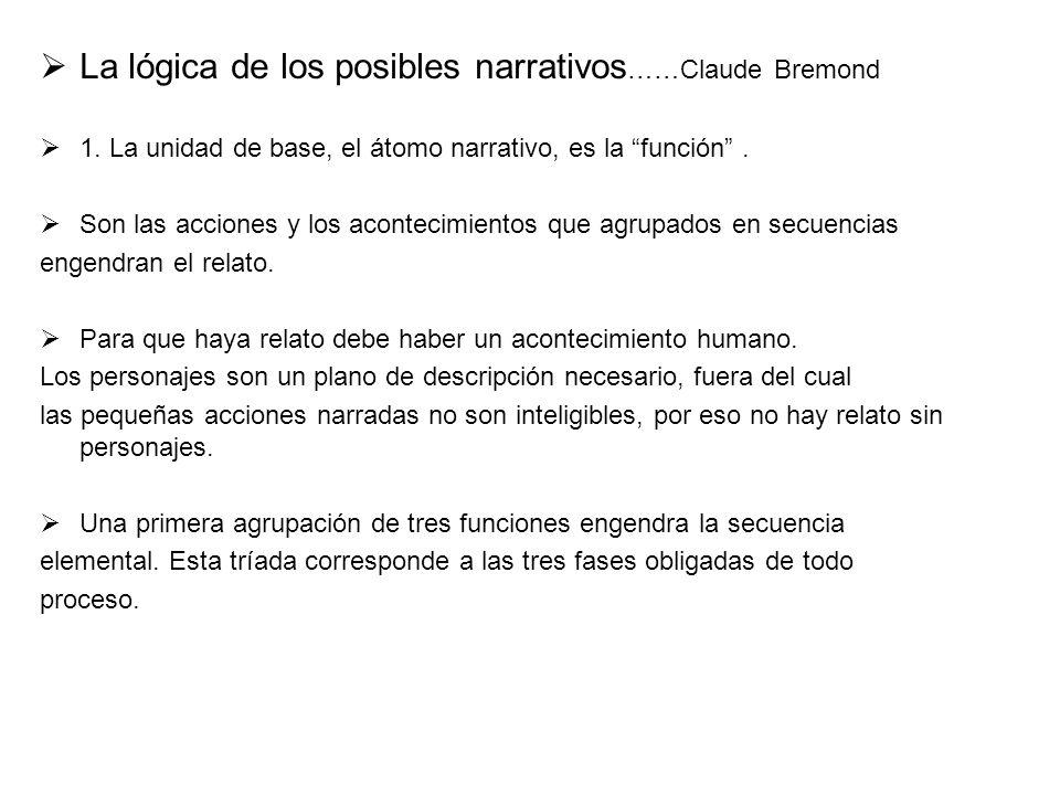 La lógica de los posibles narrativos ……Claude Bremond 1. La unidad de base, el átomo narrativo, es la función. Son las acciones y los acontecimientos