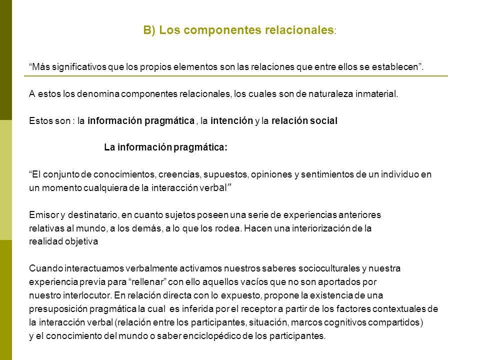 B) Los componentes relacionales : Más significativos que los propios elementos son las relaciones que entre ellos se establecen.