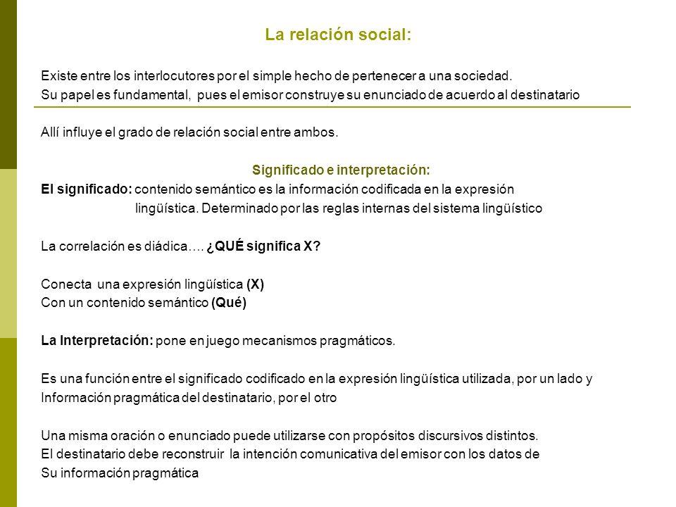 La relación social: Existe entre los interlocutores por el simple hecho de pertenecer a una sociedad.