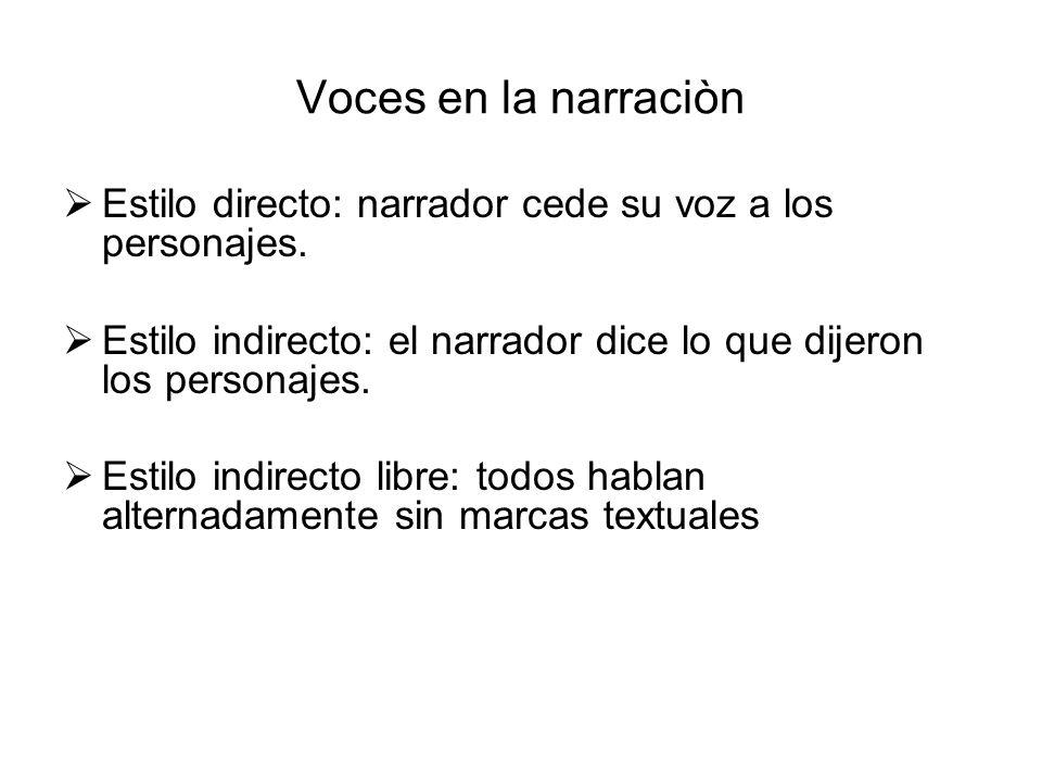 Voces en la narraciòn Estilo directo: narrador cede su voz a los personajes. Estilo indirecto: el narrador dice lo que dijeron los personajes. Estilo