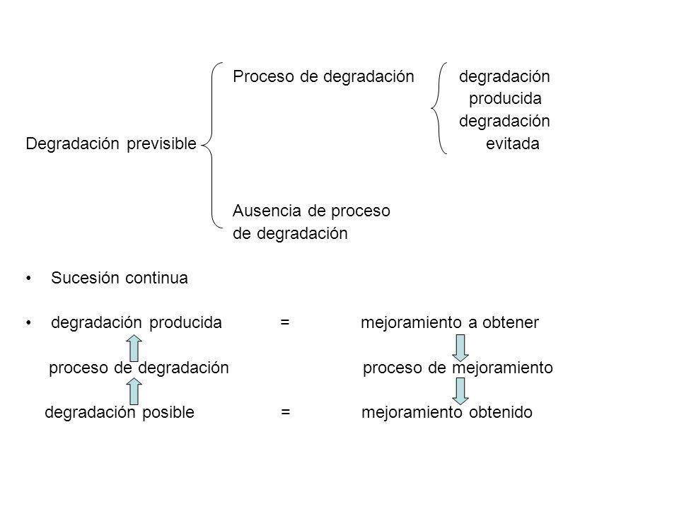 Proceso de degradación degradación producida degradación Degradación previsible evitada Ausencia de proceso de degradación Sucesión continua degradaci