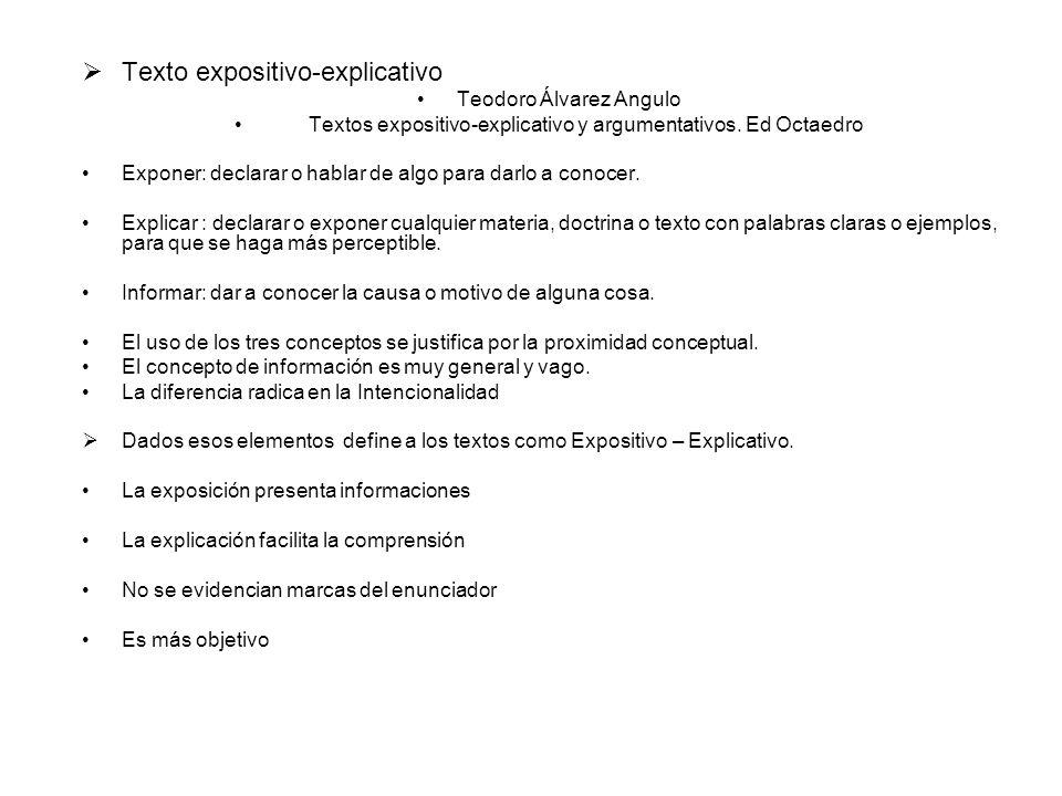 Texto expositivo-explicativo Teodoro Álvarez Angulo Textos expositivo-explicativo y argumentativos. Ed Octaedro Exponer: declarar o hablar de algo par