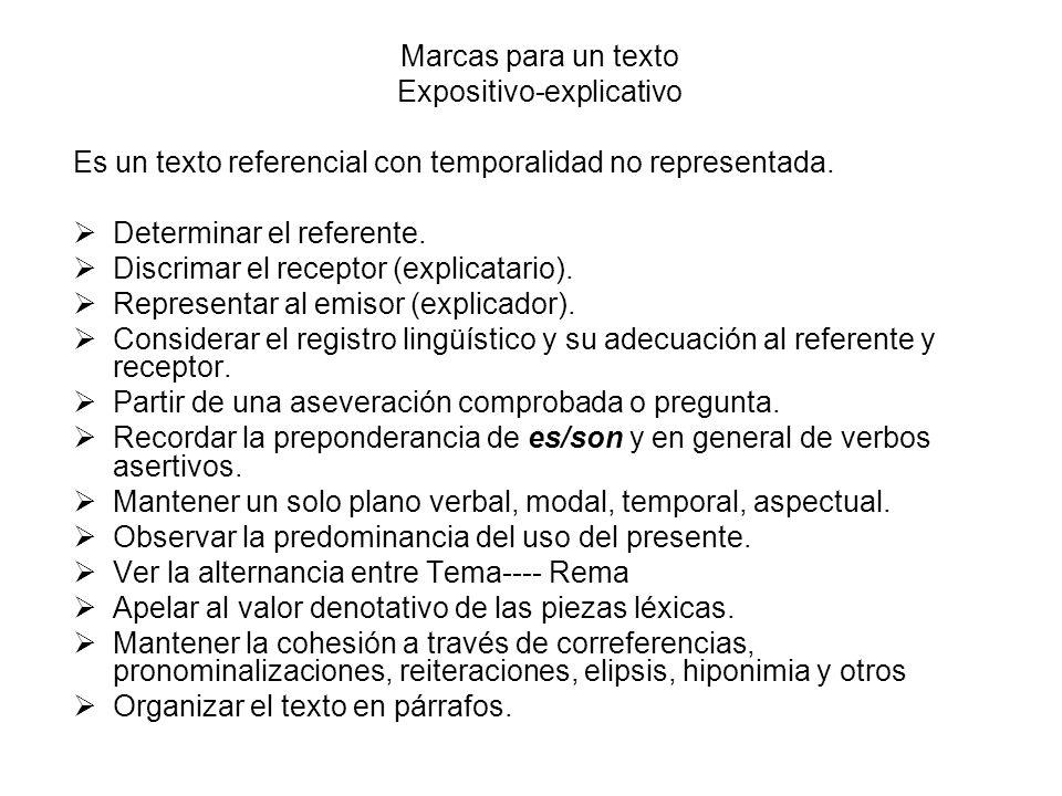 Marcas para un texto Expositivo-explicativo Es un texto referencial con temporalidad no representada. Determinar el referente. Discrimar el receptor (