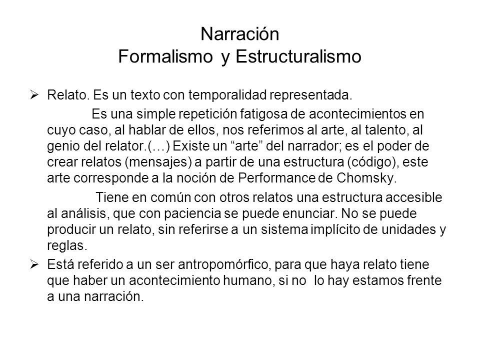 Narración Formalismo y Estructuralismo Relato. Es un texto con temporalidad representada. Es una simple repetición fatigosa de acontecimientos en cuyo