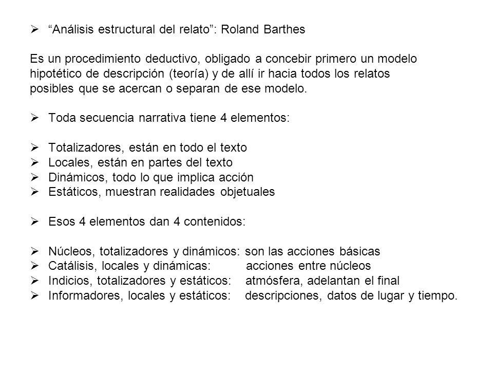 Análisis estructural del relato: Roland Barthes Es un procedimiento deductivo, obligado a concebir primero un modelo hipotético de descripción (teoría