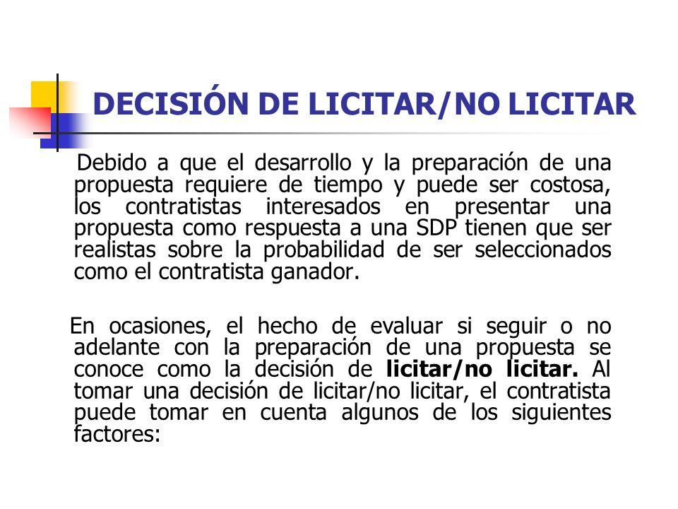 FACTORES A TOMAR EN CUENTA AL LICITAR/NO LICITAR 1.
