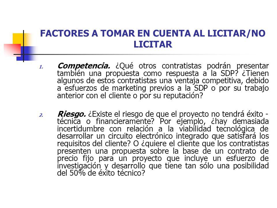 FACTORES A TOMAR EN CUENTA AL LICITAR/NO LICITAR 3.