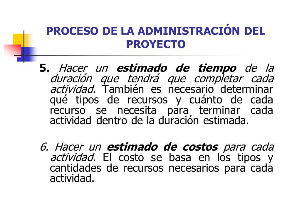 PROCESO DE LA ADMINISTRACIÓN DEL PROYECTO 7.