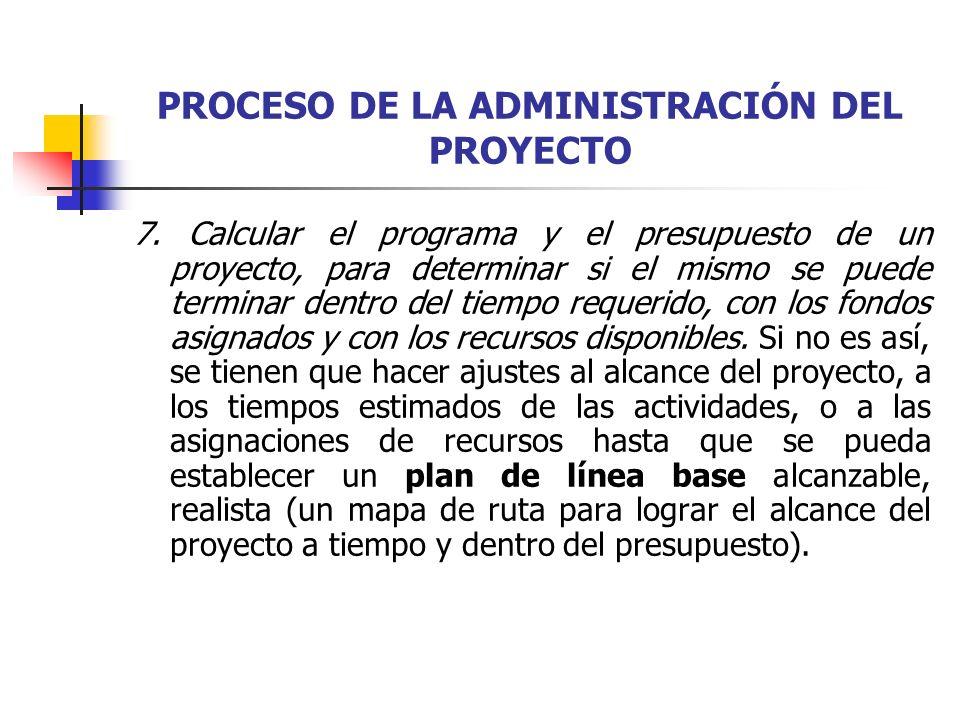 PROCESO DE LA ADMINISTRACIÓN DEL PROYECTO El plan de línea base para un proyecto se puede mostrar en un formato gráfico o tabular para cada período (semana, mes), desde el inicio del proyecto hasta su terminación.