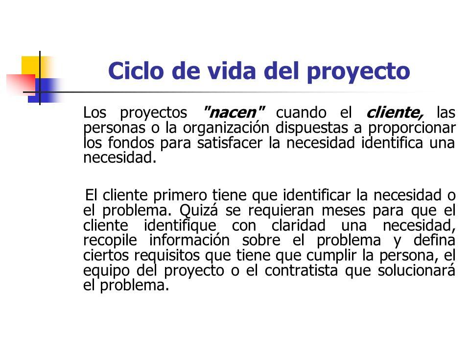 Ciclo de vida del proyecto La primera fase del ciclo de vida del proyecto incluye la identificación de una necesidad, un problema, o una oportunidad.