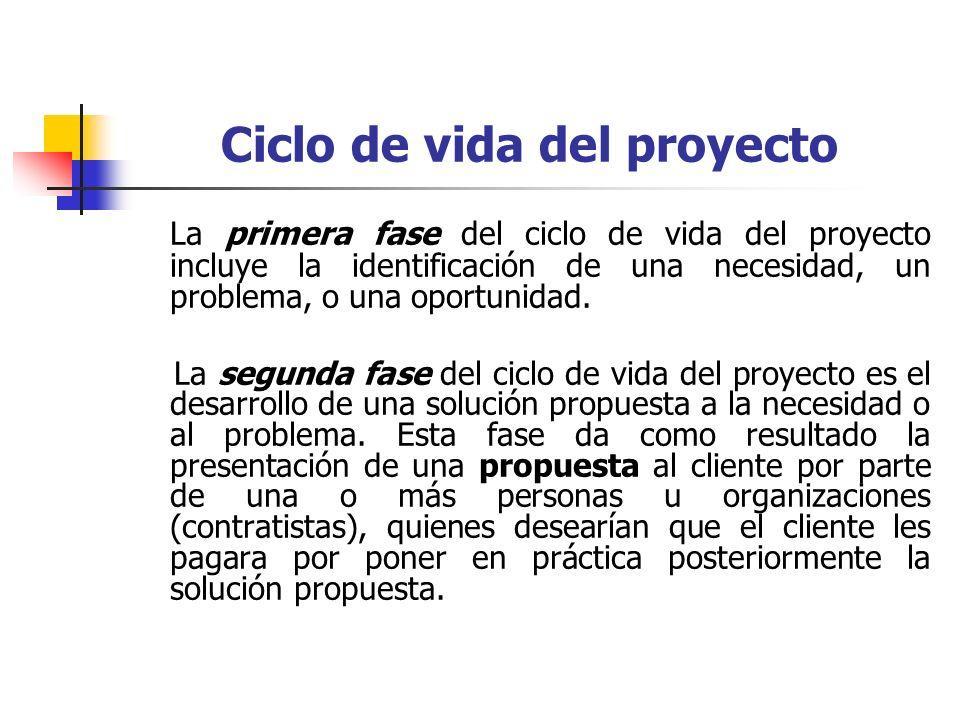Ciclo de vida del proyecto La tercera fase del ciclo de vida del proyecto es la puesta en práctica de la solución propuesta.