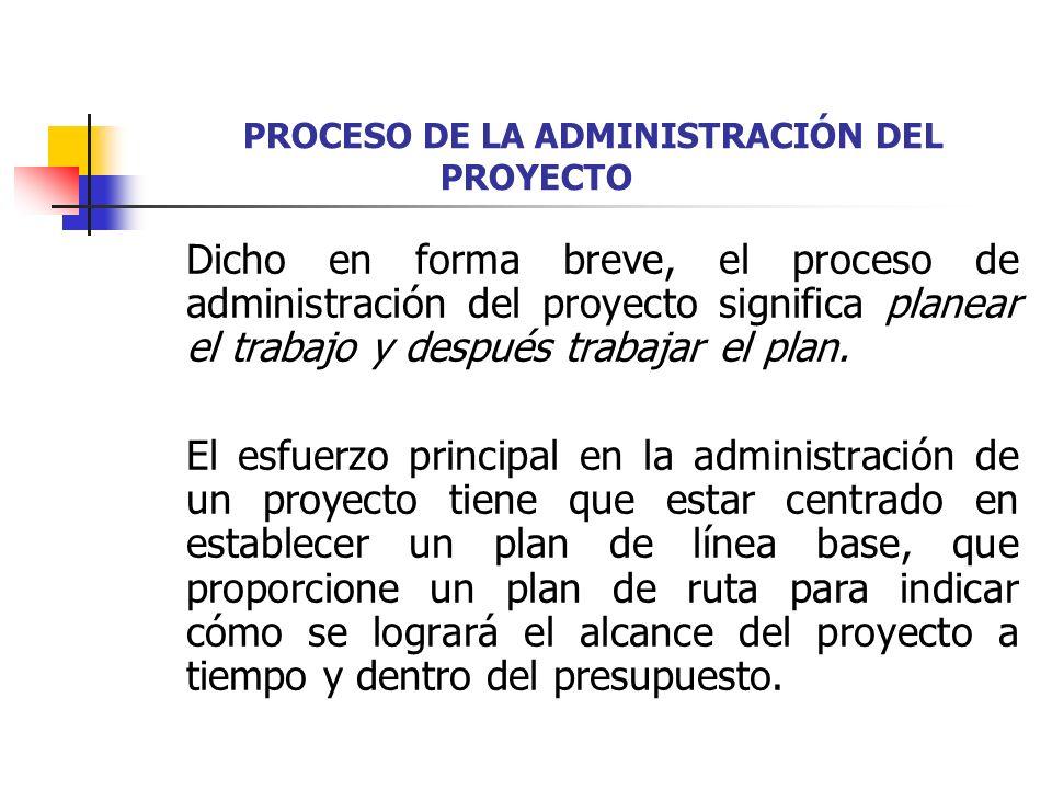 PROCESO DE LA ADMINISTRACIÓN DEL PROYECTO Este esfuerzo de planeación incluye los pasos siguientes: 1.Definir con claridad el objetivo del proyecto.