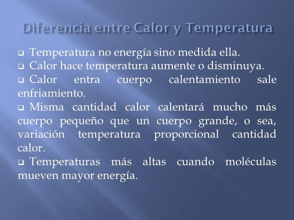 Temperatura no energía sino medida ella. Calor hace temperatura aumente o disminuya. Calor entra cuerpo calentamiento sale enfriamiento. Misma cantida
