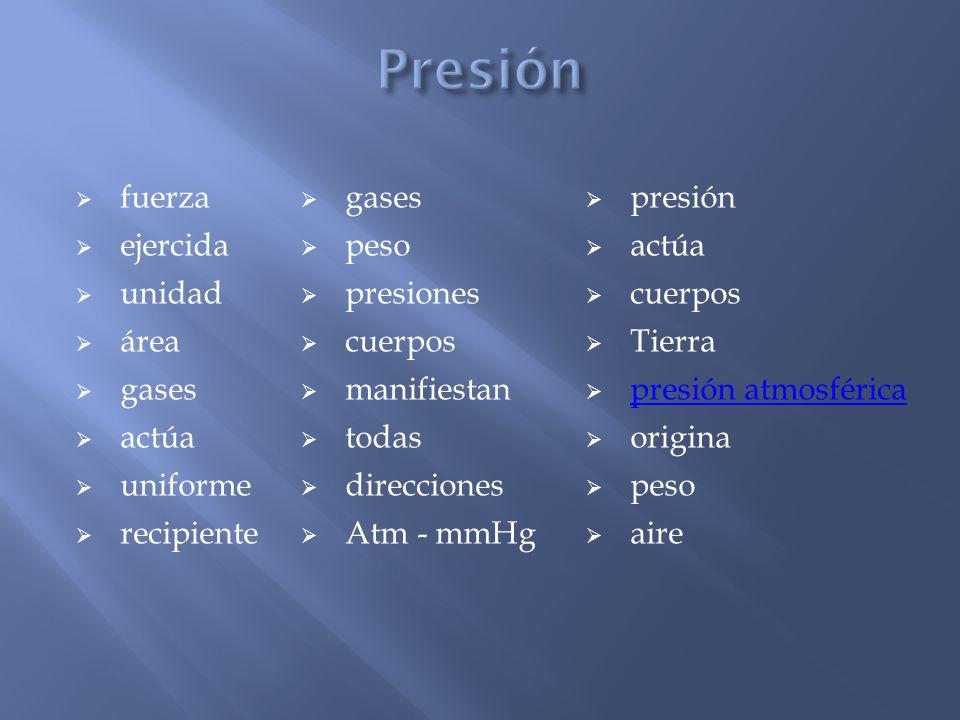 fuerza gases presión ejercida peso actúa unidad presiones cuerpos área cuerpos Tierra gases manifiestan presión atmosférica presión atmosférica actúa