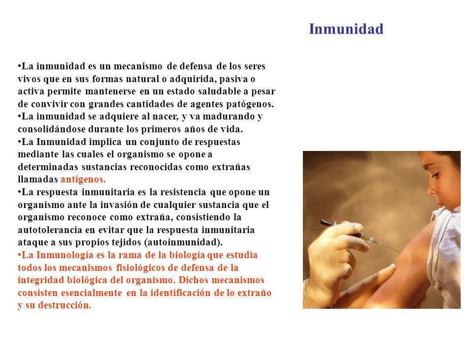 La inmunidad es un mecanismo de defensa de los seres vivos que en sus formas natural o adquirida, pasiva o activa permite mantenerse en un estado salu
